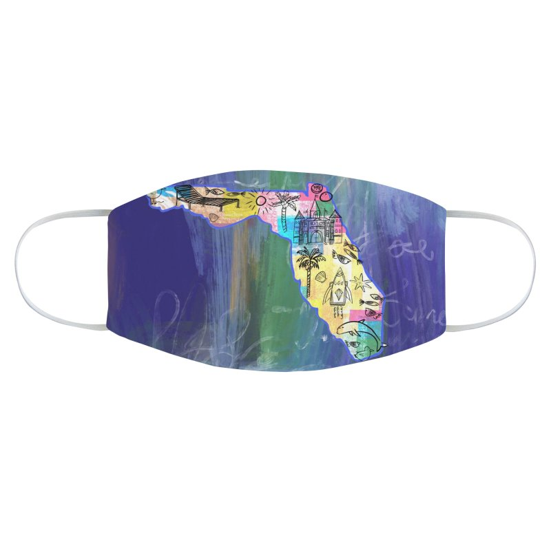 Florida Map by Marian Nixon Paintings Accessories Face Mask by Mariannixon's Artist Shop