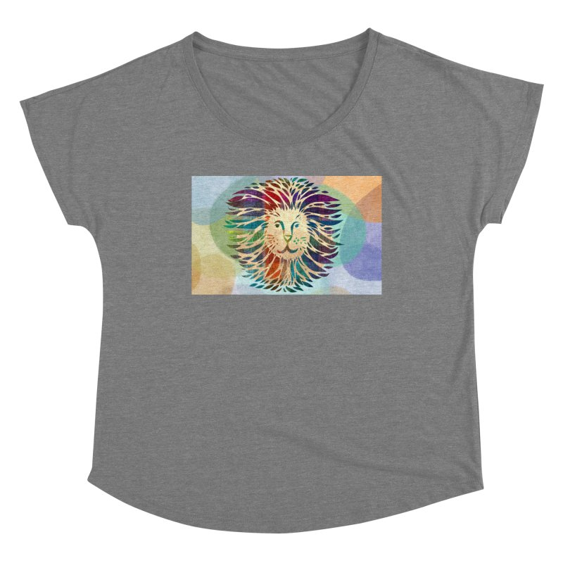 Mighty Lion by Marian Nixon Paintings Women's Scoop Neck by Mariannixon's Artist Shop