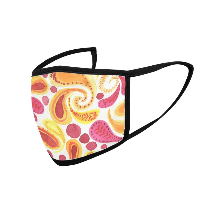 Orange Paisley by Marian Nixon Paintings Accessories Face Mask by Mariannixon's Artist Shop