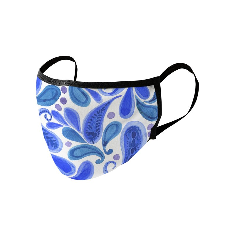 Blue Paisley by Marian Nixon Paintings Accessories Face Mask by Mariannixon's Artist Shop