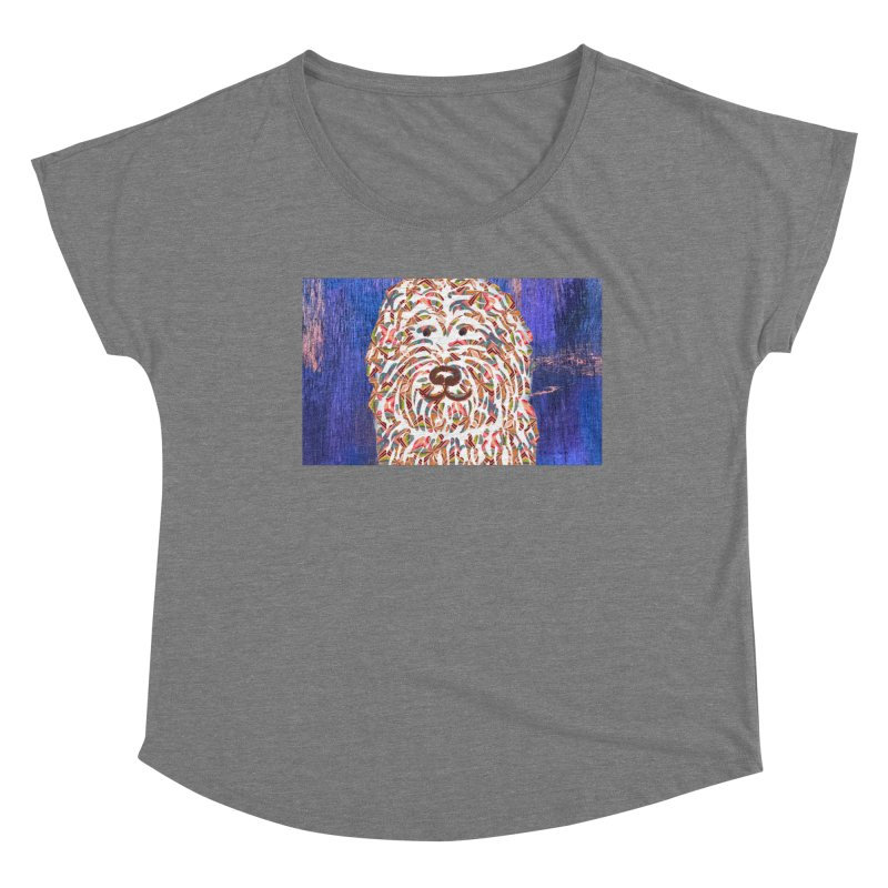 Doodle on Blue by Marian Nixon Paintings Women's Scoop Neck by Mariannixon's Artist Shop