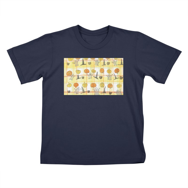 Halloween Ghosts & Pumpkins by Marian Nixon Paintings Kids T-Shirt by Mariannixon's Artist Shop