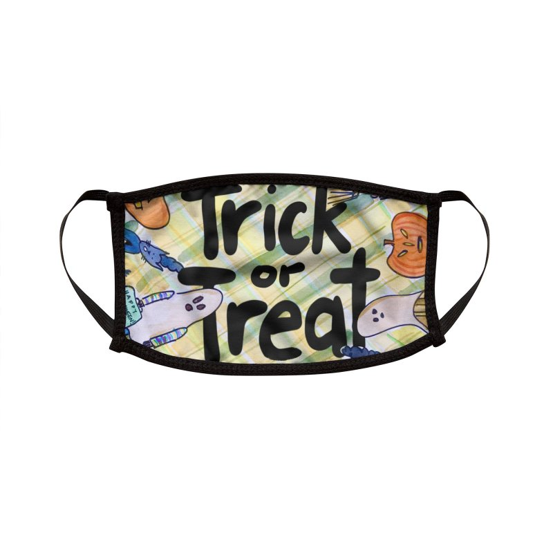 Trick or Treat Halloween Design by Marian Nixon Paintings Accessories Face Mask by Mariannixon's Artist Shop