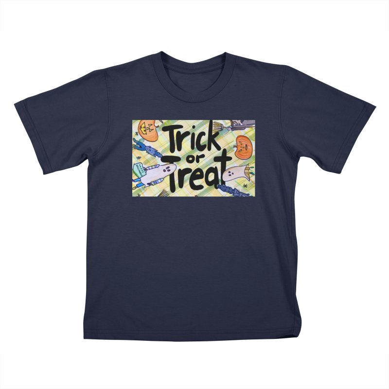 Trick or Treat Halloween Design by Marian Nixon Paintings Kids T-Shirt by Mariannixon's Artist Shop