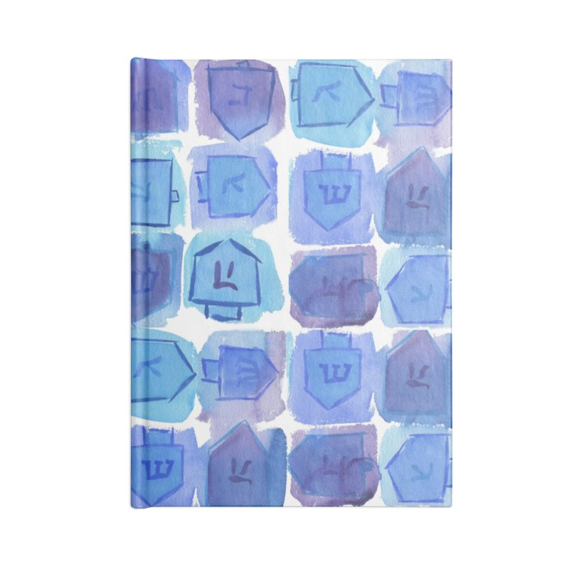 Chanukah Dreidels By Marian Nixon Paintings Accessories Notebook by Mariannixon's Artist Shop