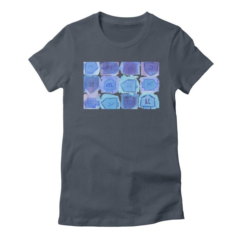 Chanukah Dreidels By Marian Nixon Paintings Women's T-Shirt by Mariannixon's Artist Shop