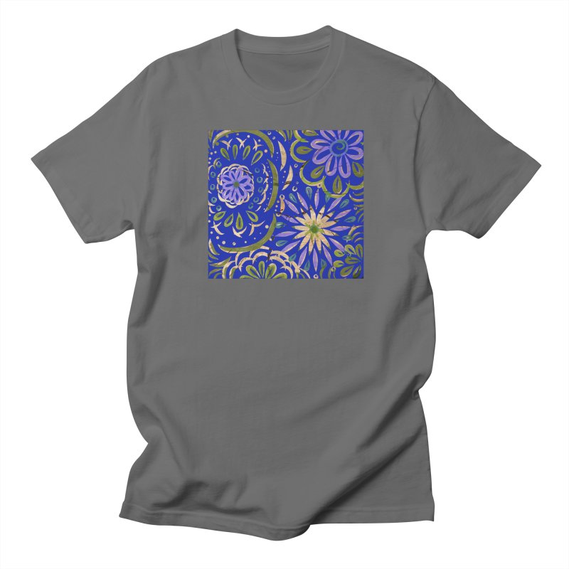 Blue Swirl on Wood by Marian Nixon Men's T-Shirt by Mariannixon's Artist Shop