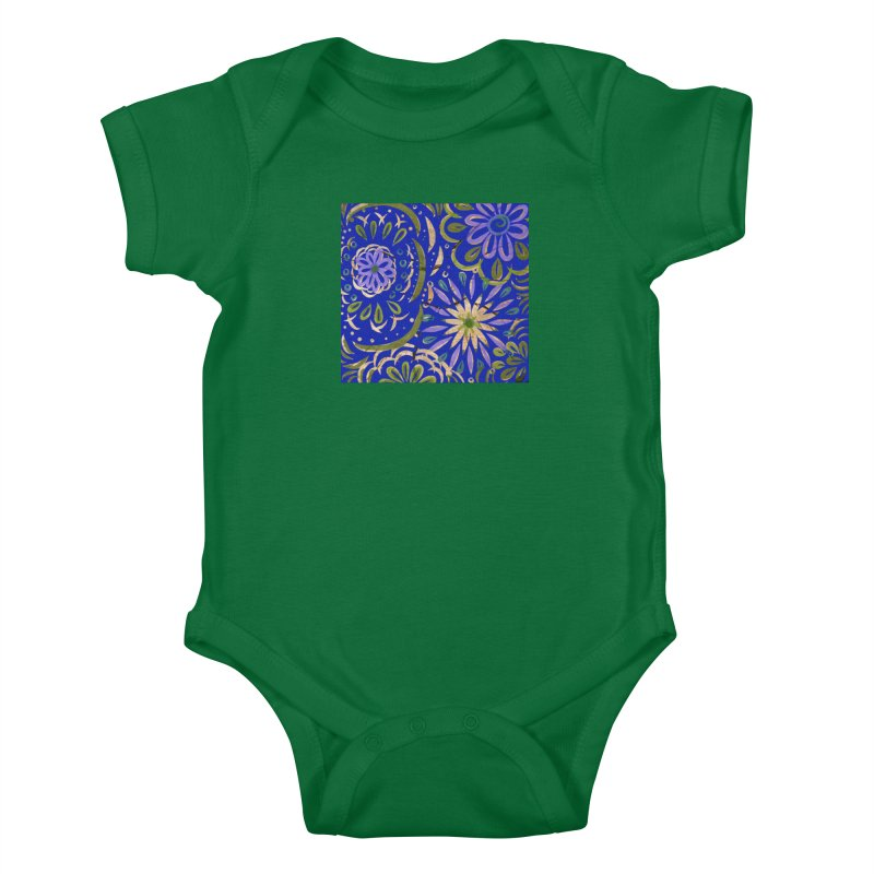 Blue Swirl on Wood by Marian Nixon Kids Baby Bodysuit by Mariannixon's Artist Shop