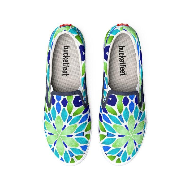 Green Blue Geo by Marian Nixon Paintings Women's Shoes by Marian Nixon's Artist Shop
