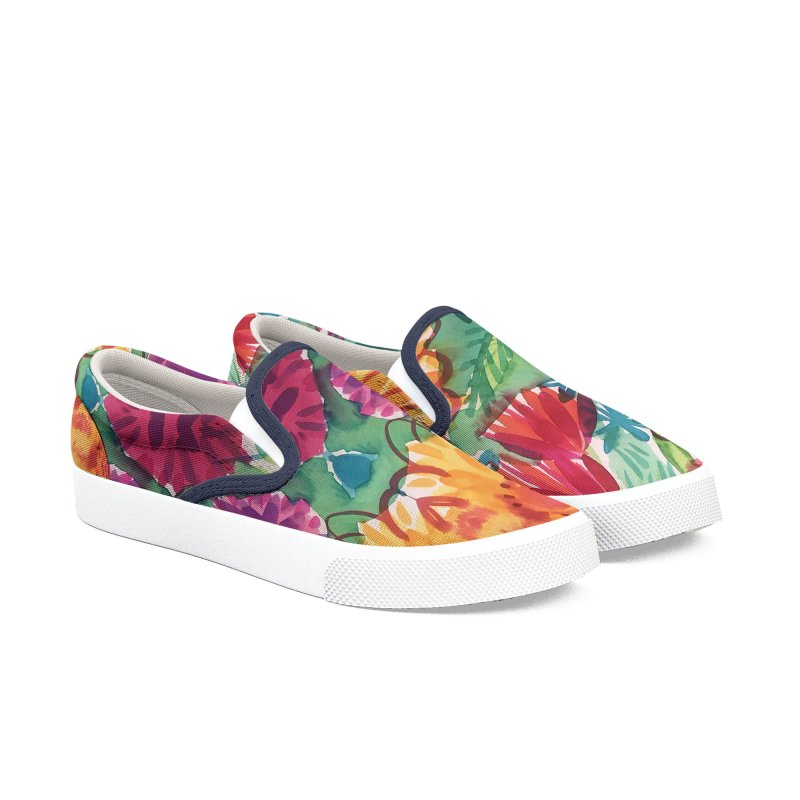 Bold Floral Watercolor by Marian Nixon Paintings Men's Shoes by Marian Nixon's Artist Shop