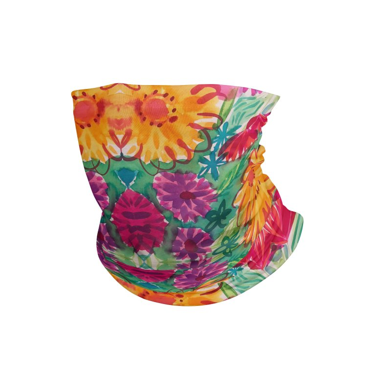Bold Floral Watercolor by Marian Nixon Paintings Accessories Neck Gaiter by Mariannixon's Artist Shop