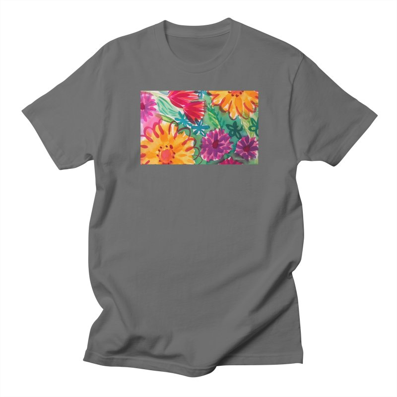 Bold Floral Watercolor by Marian Nixon Paintings Men's T-Shirt by Mariannixon's Artist Shop