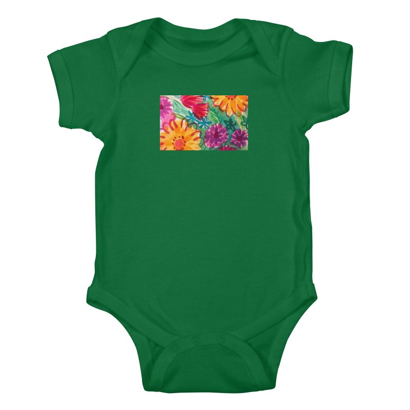 Bold Floral Watercolor by Marian Nixon Paintings Kids Baby Bodysuit by Mariannixon's Artist Shop