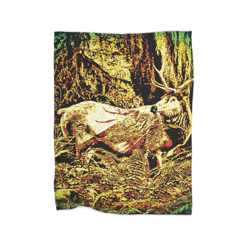 Antlers in the Wild Home Fleece Blanket Blanket by MariecorAgravante's Artist Shop