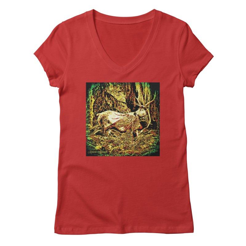 Antlers in the Wild Women's Regular V-Neck by MariecorAgravante's Artist Shop