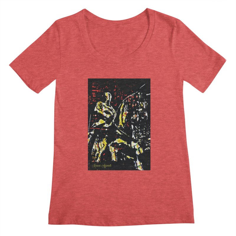 Armored Knight and Steed Women's Scoopneck by MariecorAgravante's Artist Shop