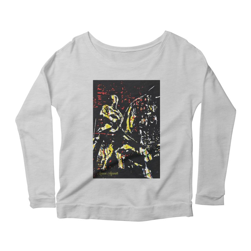 Armored Knight and Steed Women's Scoop Neck Longsleeve T-Shirt by MariecorAgravante's Artist Shop