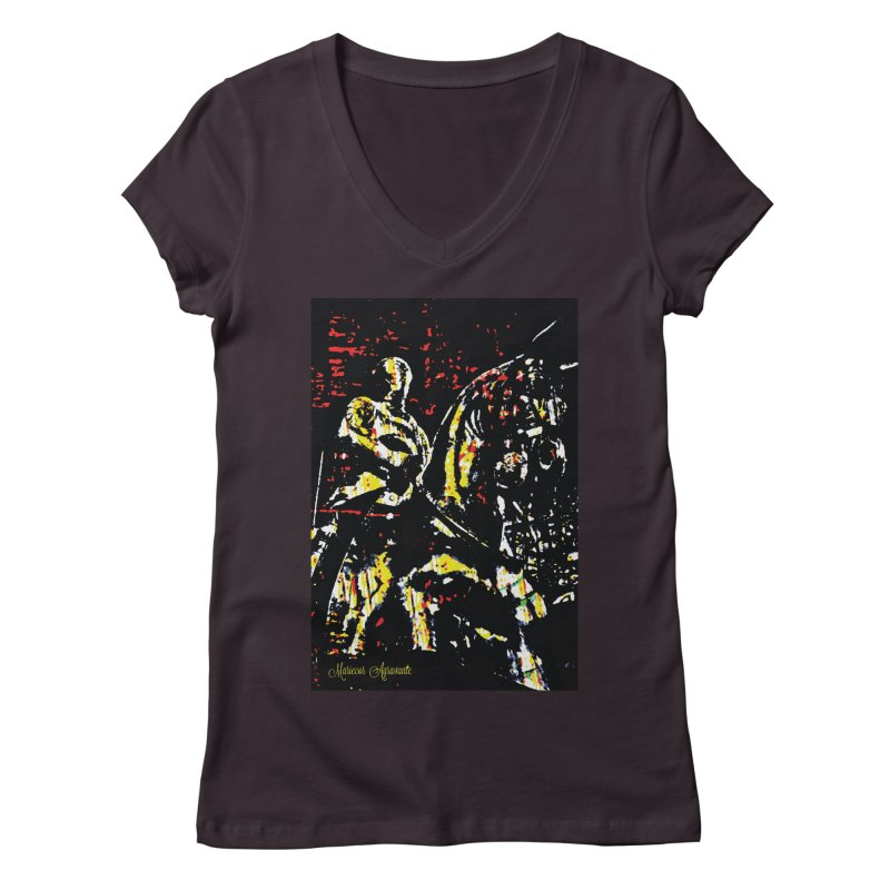 Armored Knight and Steed Women's V-Neck by MariecorAgravante's Artist Shop