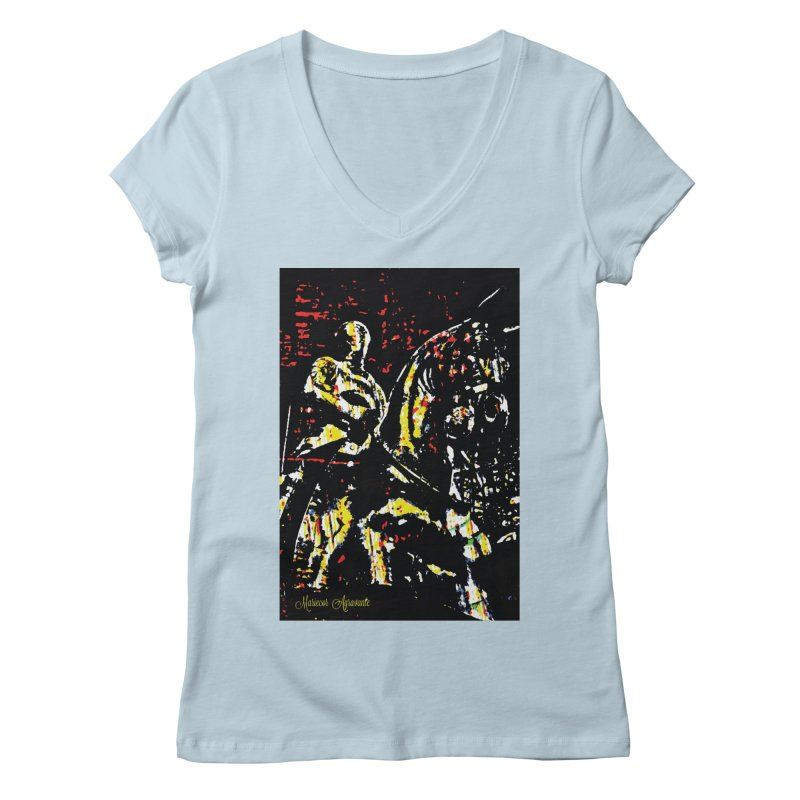 Armored Knight and Steed Women's Regular V-Neck by MariecorAgravante's Artist Shop