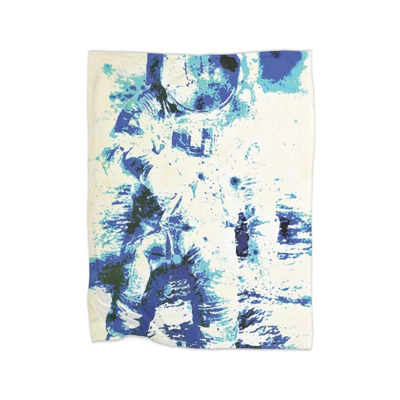 Astronaut in Cool Blue Planet Exploration Home Fleece Blanket Blanket by MariecorAgravante's Artist Shop