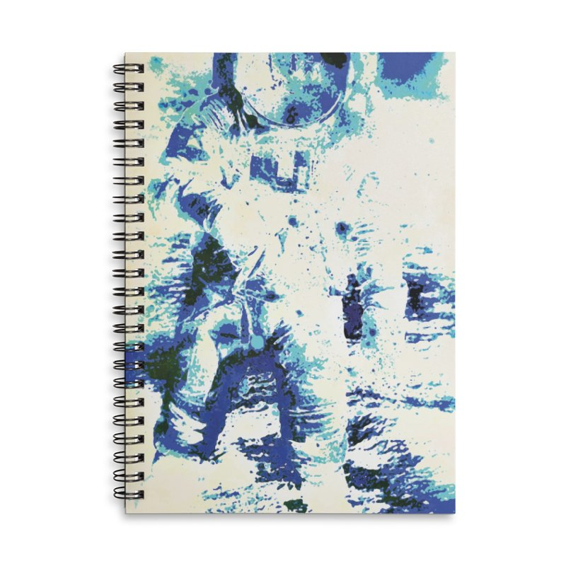 Astronaut in Cool Blue Planet Exploration Accessories Lined Spiral Notebook by MariecorAgravante's Artist Shop