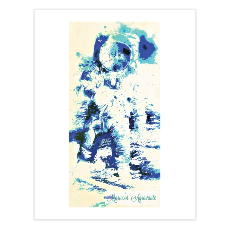 Astronaut in Cool Blue Planet Exploration Home Fine Art Print by MariecorAgravante's Artist Shop