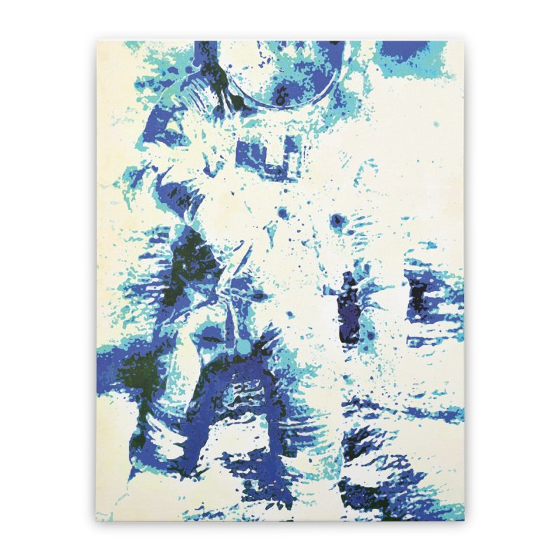 Astronaut in Cool Blue Planet Exploration Home Stretched Canvas by MariecorAgravante's Artist Shop