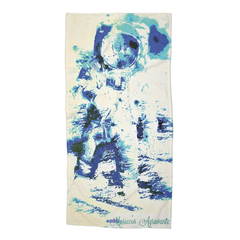 Astronaut in Cool Blue Planet Exploration Accessories Beach Towel by MariecorAgravante's Artist Shop
