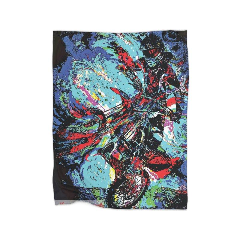 Biking Rugged Home Fleece Blanket Blanket by MariecorAgravante's Artist Shop