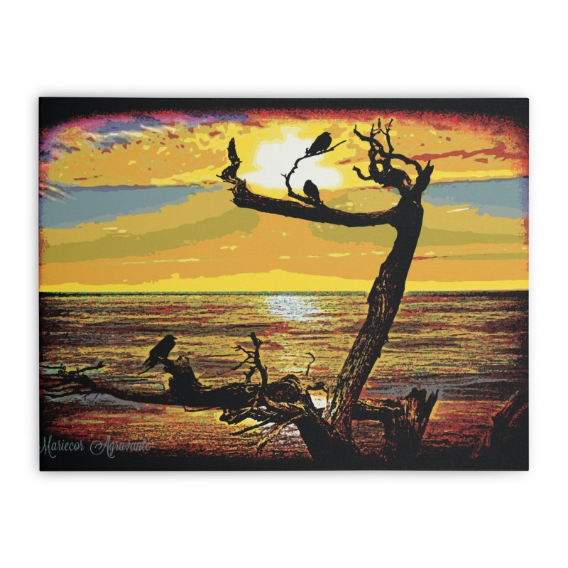 Birds by the Sea Home Stretched Canvas by MariecorAgravante's Artist Shop