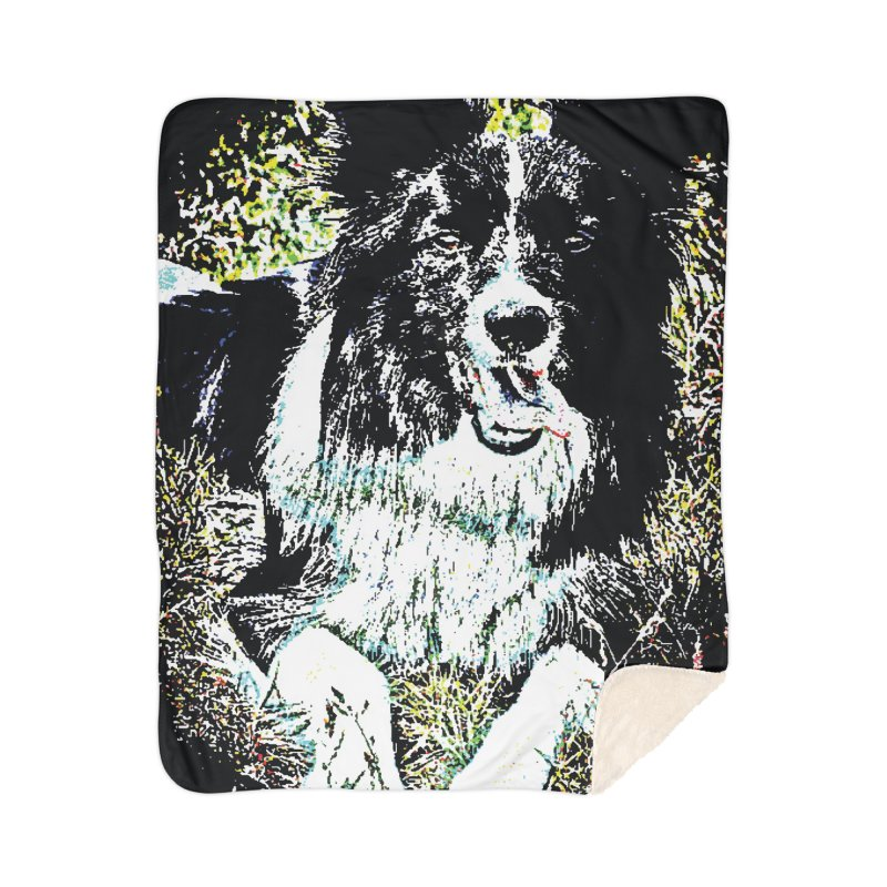 Border Collie Home Sherpa Blanket Blanket by MariecorAgravante's Artist Shop