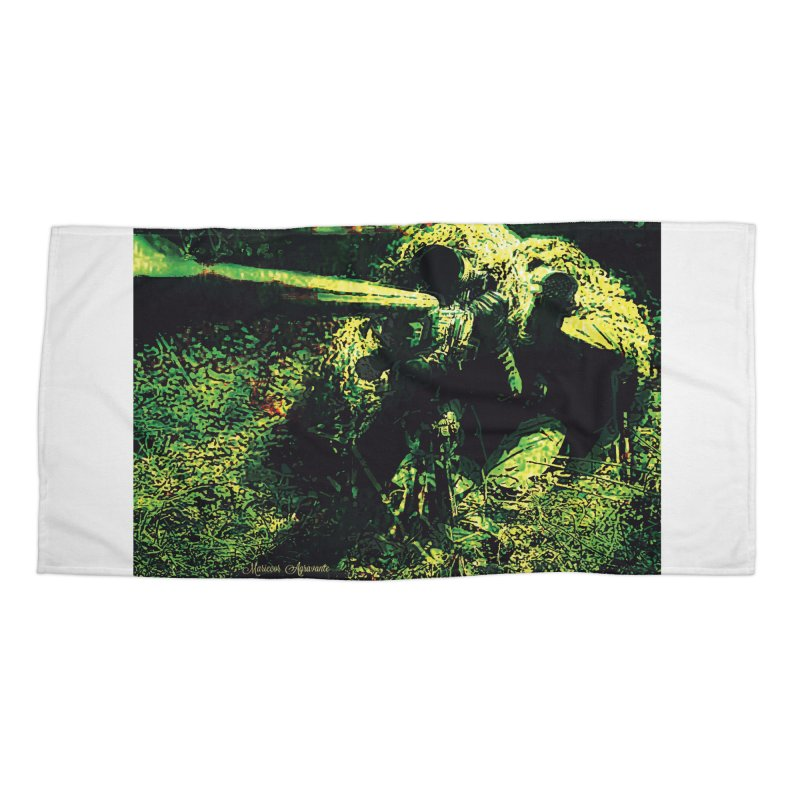 Covered Sniper and Spotter Accessories Beach Towel by MariecorAgravante's Artist Shop