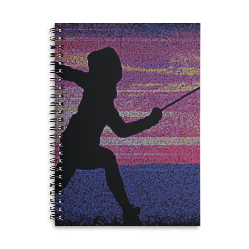 Fencing Sunrise Accessories Lined Spiral Notebook by MariecorAgravante's Artist Shop