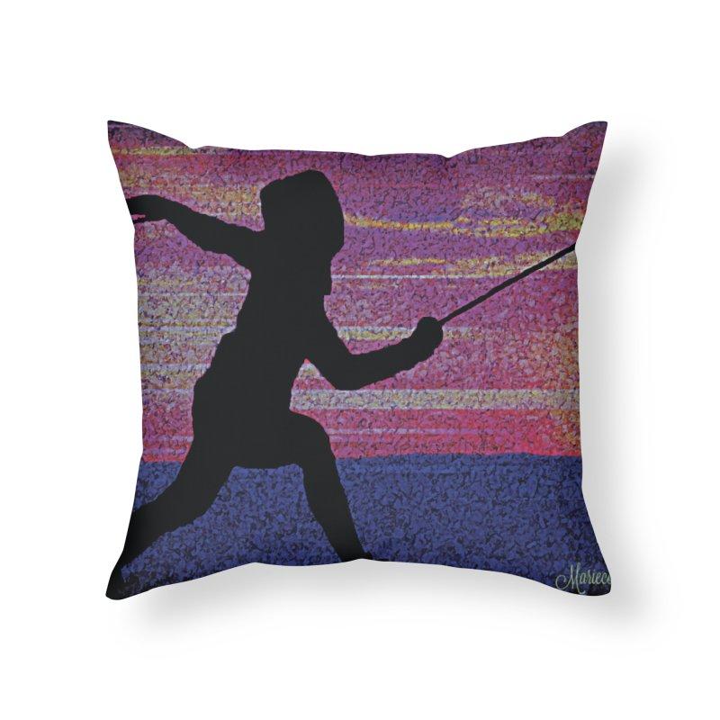 Fencing Sunrise Home Throw Pillow by MariecorAgravante's Artist Shop