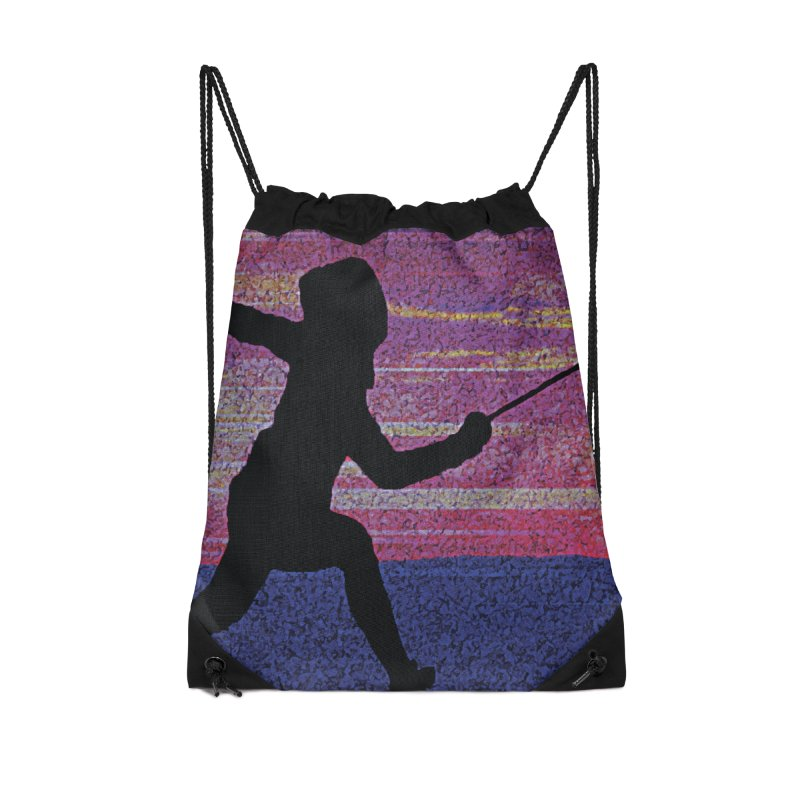 Fencing Sunrise Accessories Drawstring Bag Bag by MariecorAgravante's Artist Shop