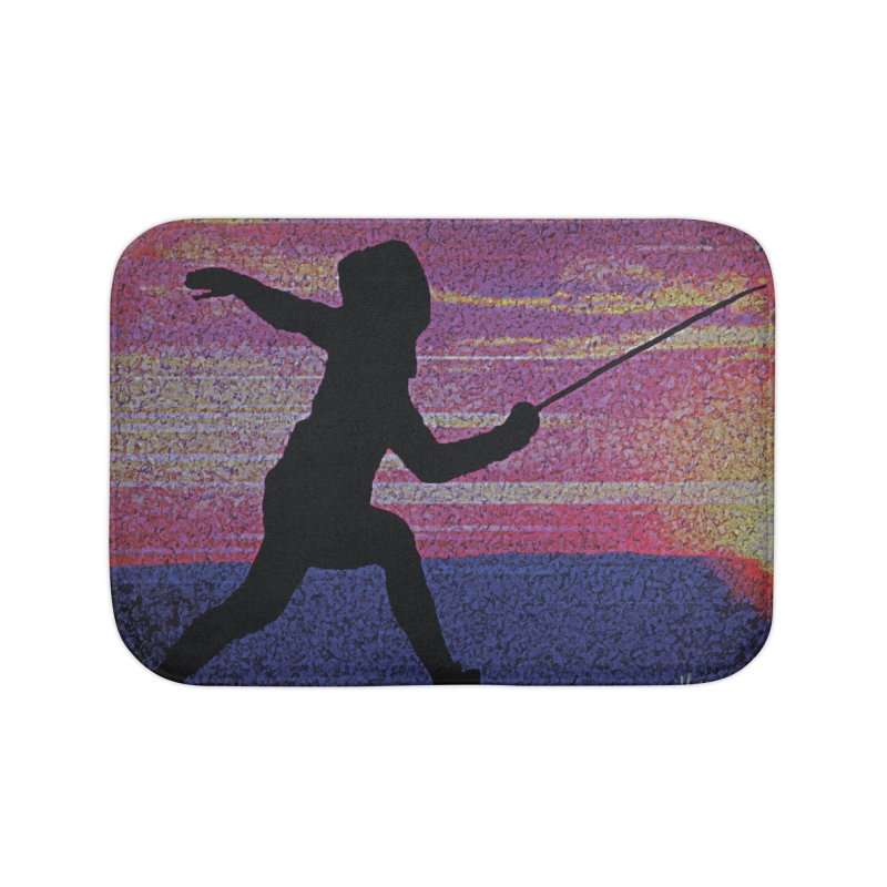 Fencing Sunrise Home Bath Mat by MariecorAgravante's Artist Shop