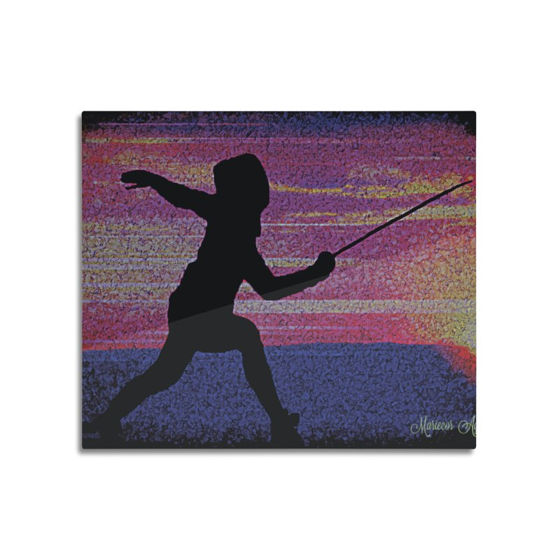 Fencing Sunrise Home Mounted Aluminum Print by MariecorAgravante's Artist Shop