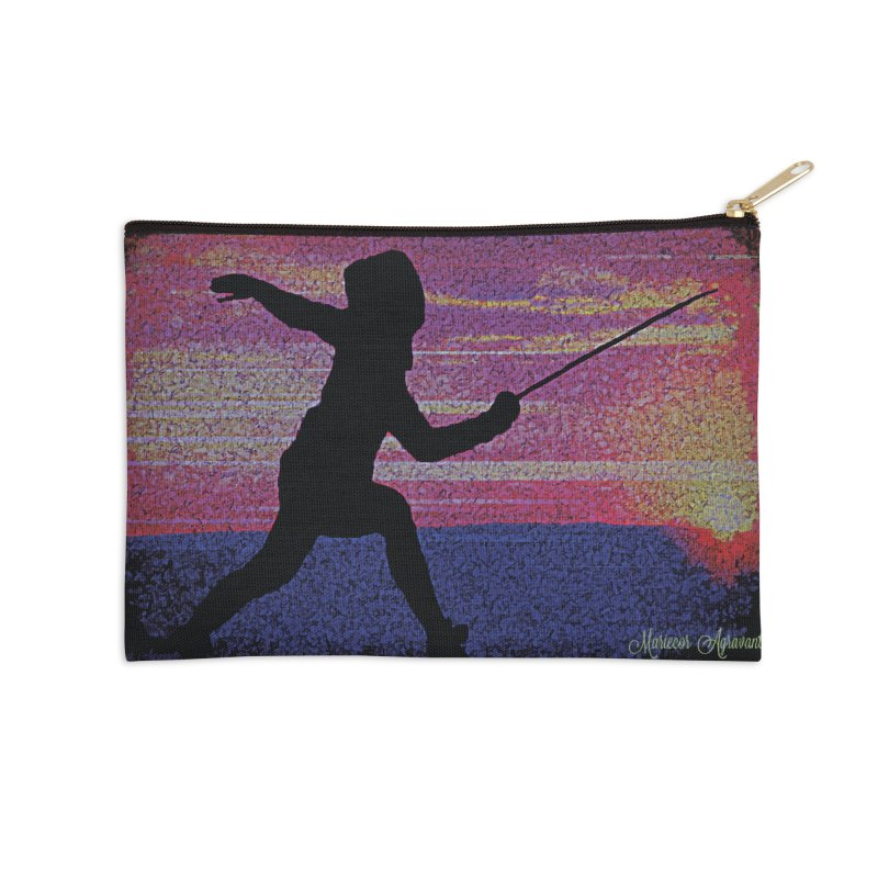 Fencing Sunrise Accessories Zip Pouch by MariecorAgravante's Artist Shop