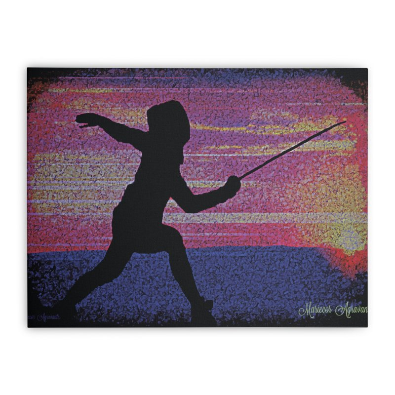 Fencing Sunrise Home Stretched Canvas by MariecorAgravante's Artist Shop