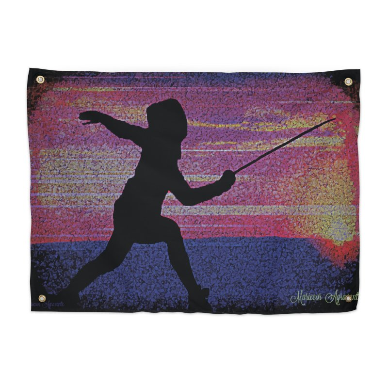 Fencing Sunrise Home Tapestry by MariecorAgravante's Artist Shop