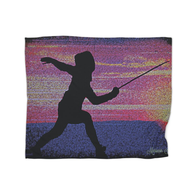 Fencing Sunrise Home Fleece Blanket Blanket by MariecorAgravante's Artist Shop