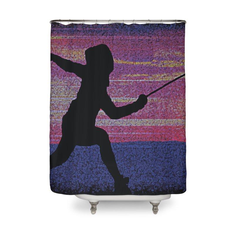 Fencing Sunrise Home Shower Curtain by MariecorAgravante's Artist Shop