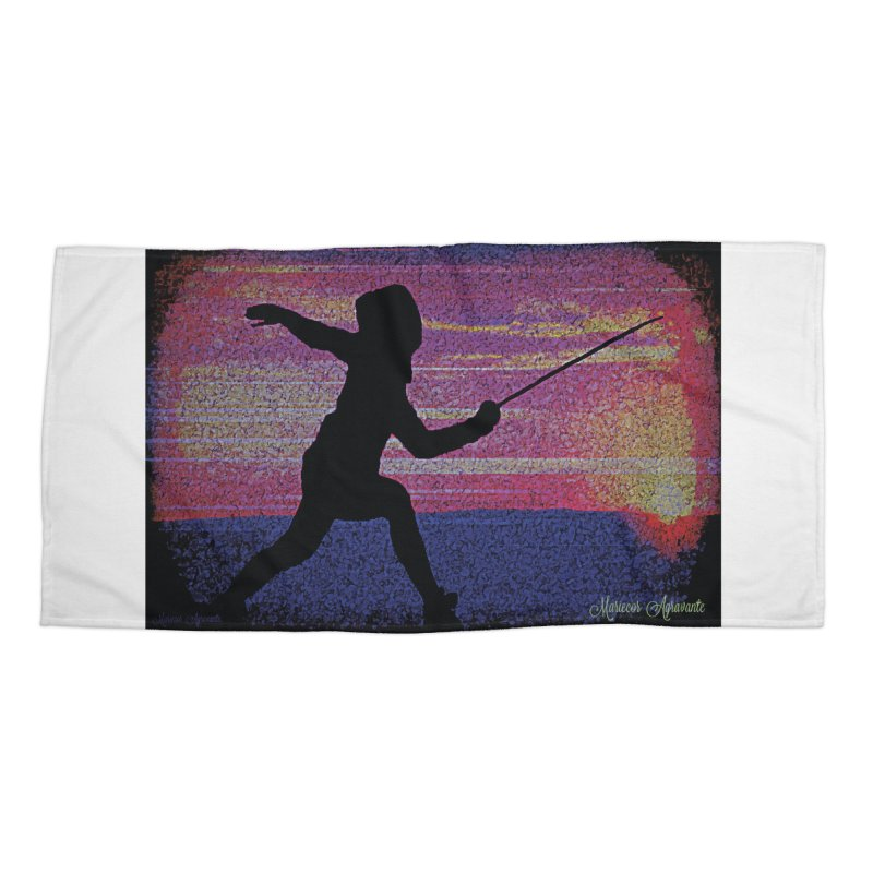 Fencing Sunrise Accessories Beach Towel by MariecorAgravante's Artist Shop