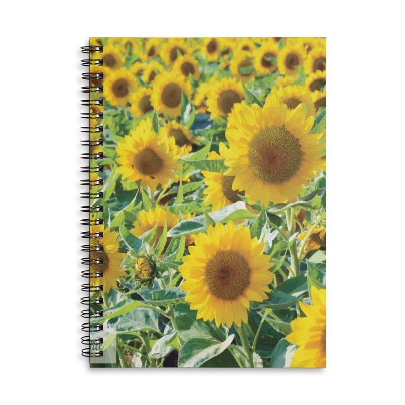 Landscape Sunflower Field Accessories Lined Spiral Notebook by MariecorAgravante's Artist Shop
