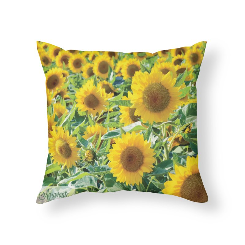 Landscape Sunflower Field Home Throw Pillow by MariecorAgravante's Artist Shop