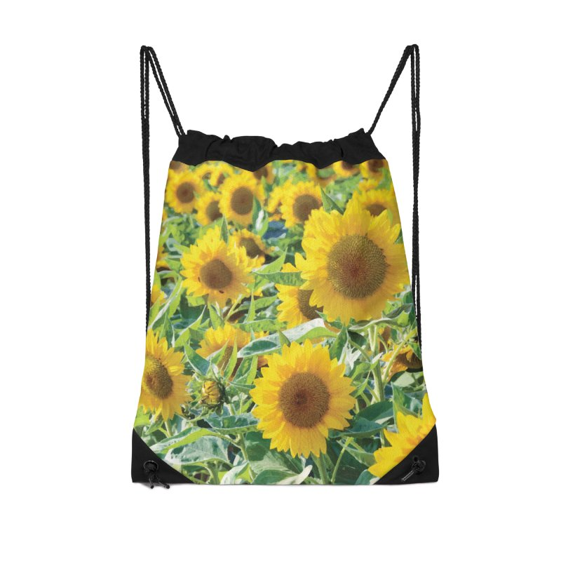 Landscape Sunflower Field Accessories Drawstring Bag Bag by MariecorAgravante's Artist Shop