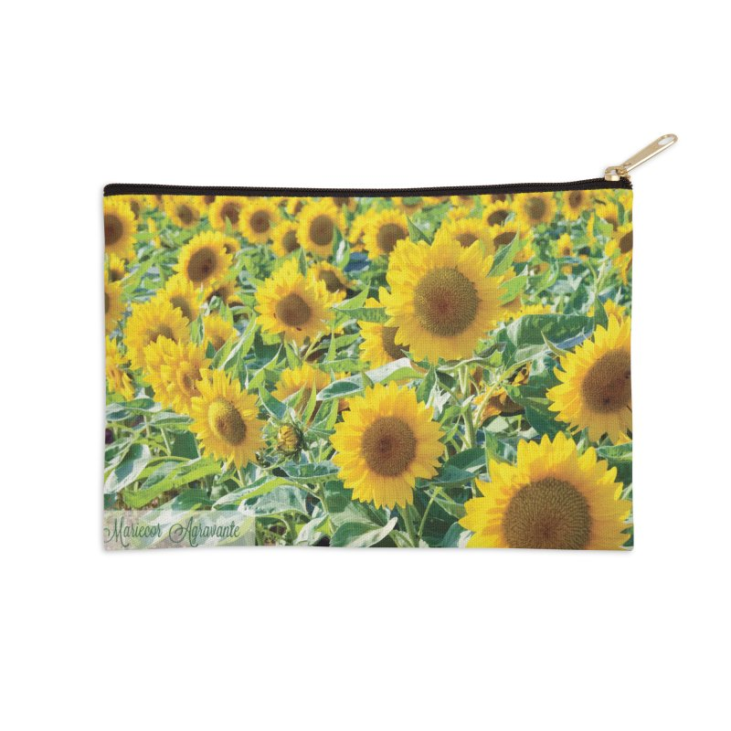 Landscape Sunflower Field Accessories Zip Pouch by MariecorAgravante's Artist Shop