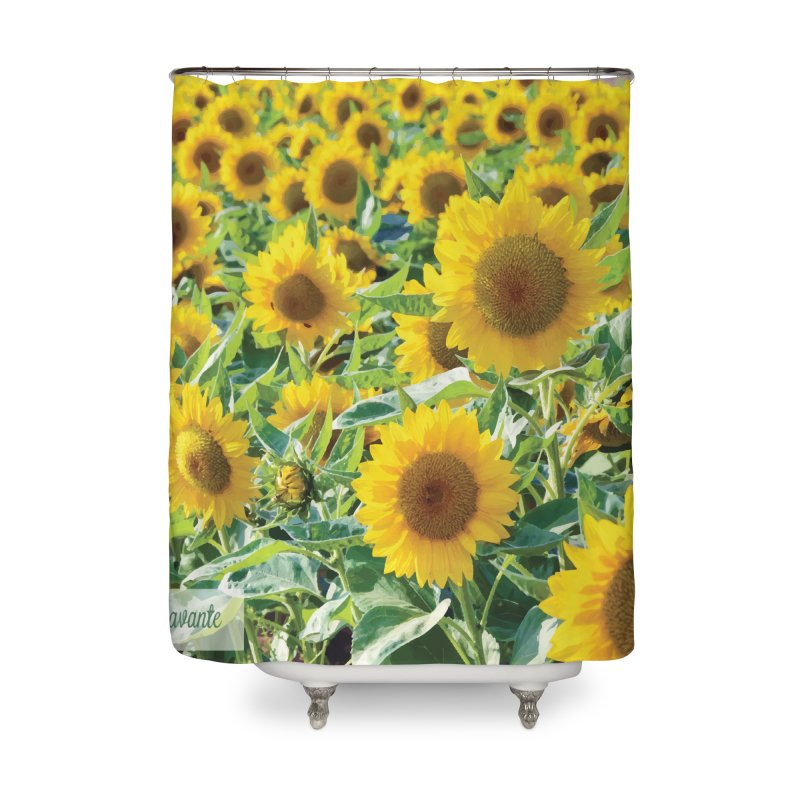 Landscape Sunflower Field Home Shower Curtain by MariecorAgravante's Artist Shop