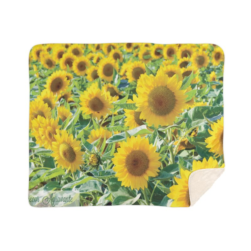 Landscape Sunflower Field Home Sherpa Blanket Blanket by MariecorAgravante's Artist Shop