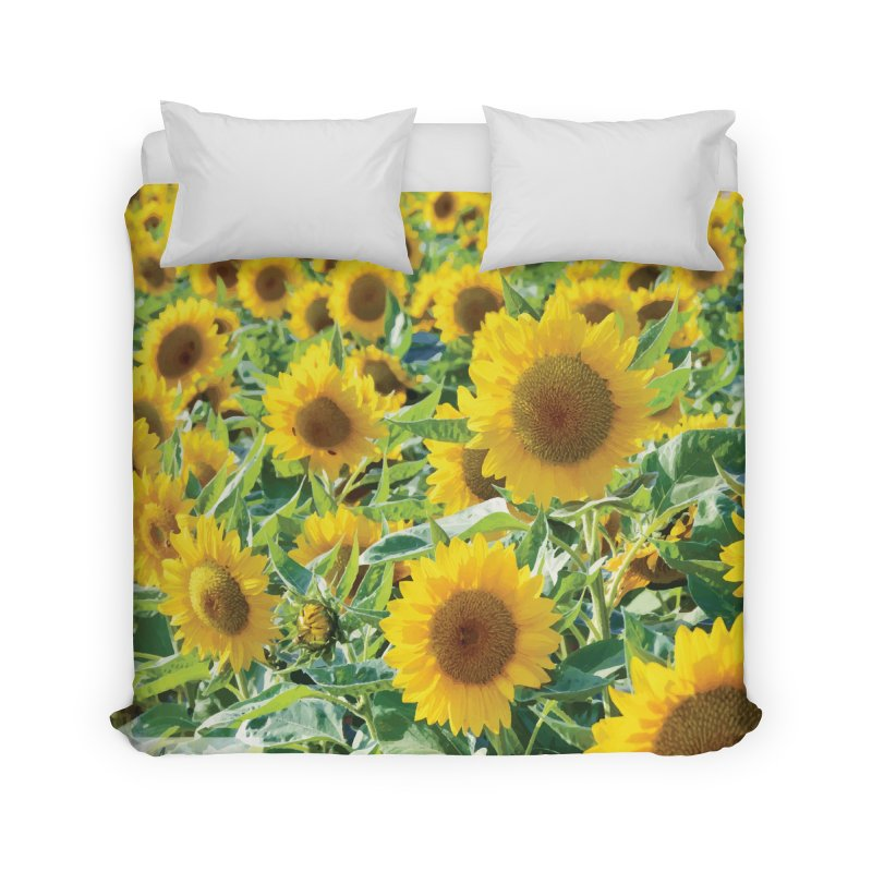 Landscape Sunflower Field Home Duvet by MariecorAgravante's Artist Shop
